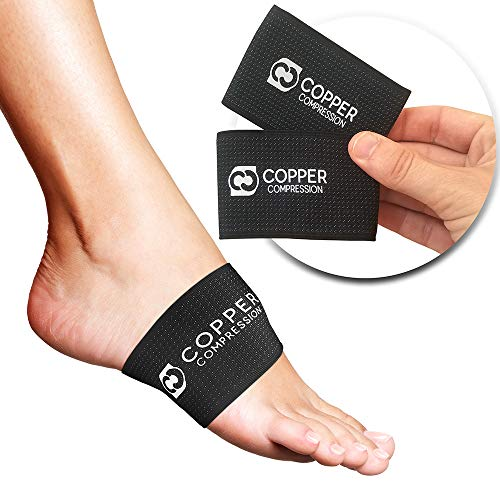 Copper Compression Copper Arch Support - 2 Plantar Fasciitis Braces/Sleeves. Guaranteed Highest Copper Content. Foot Care, Heel Spurs, Feet Pain, Flat Arches (1 Pair Black - One Size Fits All) (Best Foot Arch Support)