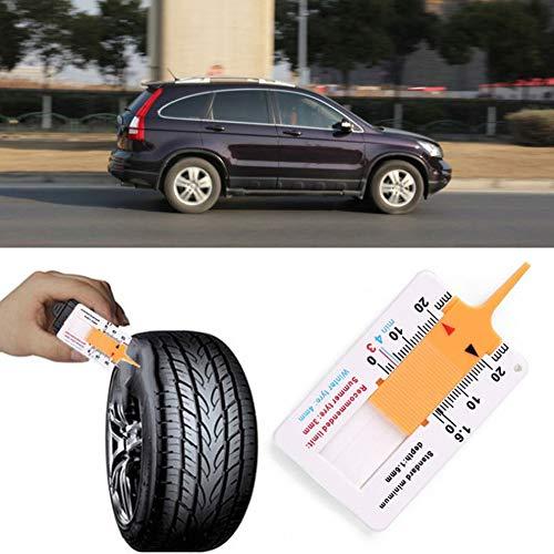 White/&Yellow Libertroy Measure Tool Tyre Tread Depth Gauge Tread Depth Meter for Car Trailer Motorcycle Caravan Trailer Wheel Car Accessories