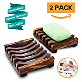 Magift 2 Piece Bathroom Wooden Soap Case Holder, Sink Deck Bathtub Shower Dish, Rectangular, Hand Craft, Natural Wooden Holder for Sponges, Scrubber