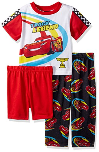 Disney Toddler Boys' Cars 3-Piece Pajama Set, Racecar Red, 3T Cars Pajamas Pjs
