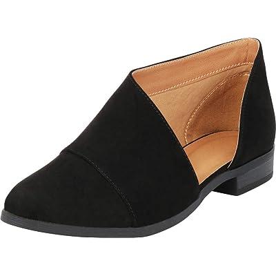 Cambridge Select Women's Open Shank Pointed Toe Low Heel Shootie Ankle Bootie | Shoes