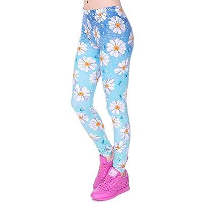 Pantalones De Yoga Moda Elástico Azul Daisy tee Ombre Impreso Modernas Casual Moda Slim Fit Legging Pantalones Casual Poliéster Pantalones Leggings Mujeres (Color : Lga40553, Size : One Size): Ropa y accesorios