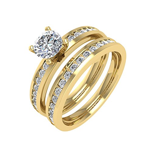 18K Yellow Gold Diamond Engagement Wedding Ring Bridal Set (1.00 carat) - IGI Certified