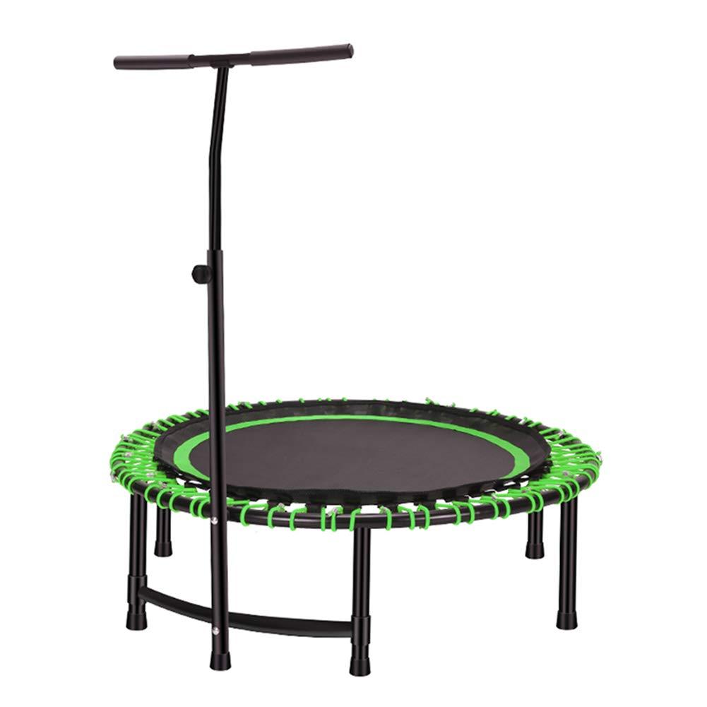 Trampolin, 45-Zoll-Mini-Fitness-Trampolin mit verstellbarem Handlauf, rundes Übungs-Trampolin für Erwachsene/Kinder - Max Load 150KG (Farbe : Grün)
