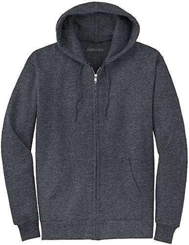 Joe's USA Full Zipper Hoodies - Hooded Sweatshirts Size 4XL, Dark Heather