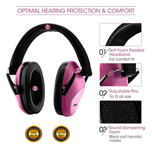 Mpow Kids Safety Ear Muffs, NRR 25dB Professional Noise Reduction Shooter Hearing Protection, Ear Defenders for Shooting Range Hunting for Children, Infants, Small Adults, Women (Pink)