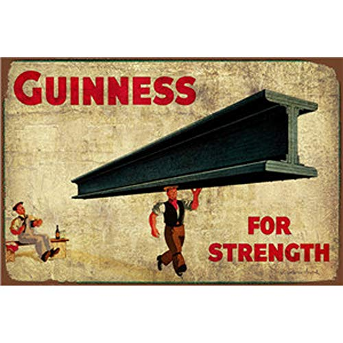 (FlowerBeads Guinness for Strength Tin Bar Signs Funny Wine Glasses Wall Decor, Metal Art Bar Pub Poster Mental Painting Decoration (8 X 12)
