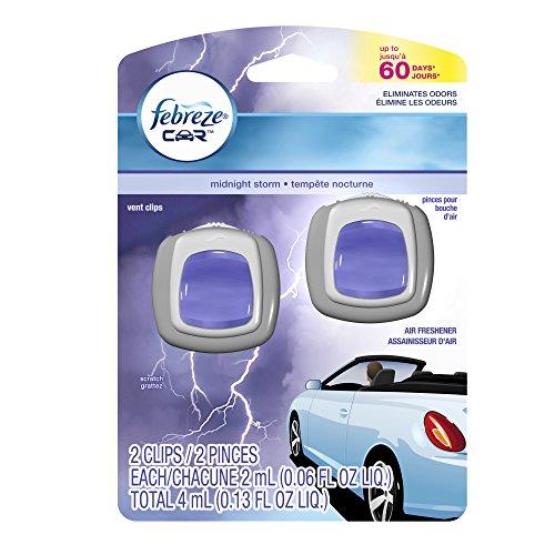 Febreze CAR Vent Clip Midnight Storm Air Freshener (2 Count, 0.13 oz)(Pack of 8)