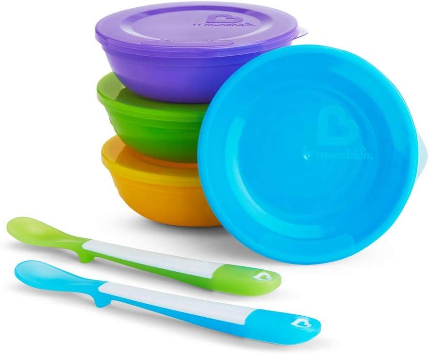 Munchkin - Recipiente para Conservación de Alimentos 4 bols/Tapa + 2 Cucharas multicolor