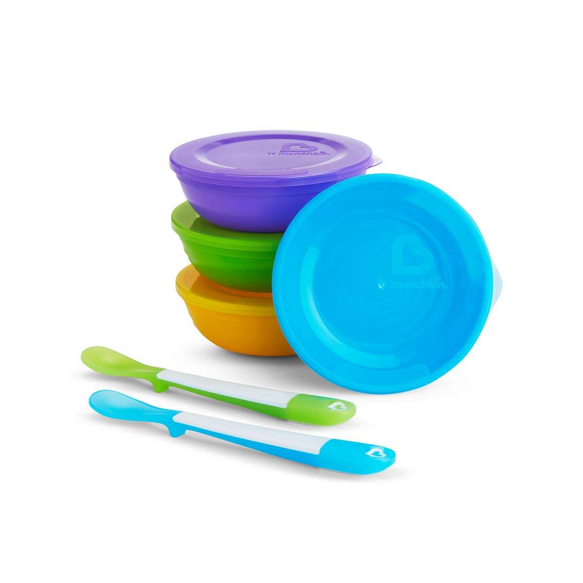 Munchkin Love - a - Bowls - Food Storage Container 4 bowls / Lid + 2 Spoons, multicolour