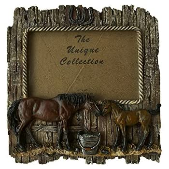 """Tough-1 Leather and Stone Western Style Picture Frame for 4/"""" x 6/"""" Photo"""