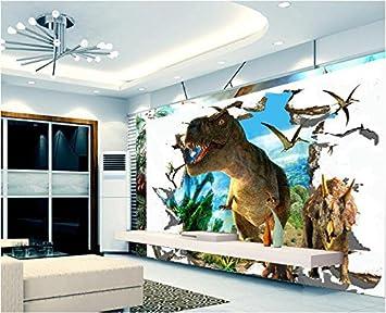 Malilove Papier Peint Mural Personnalise 3d Stickers Dinosaures Du