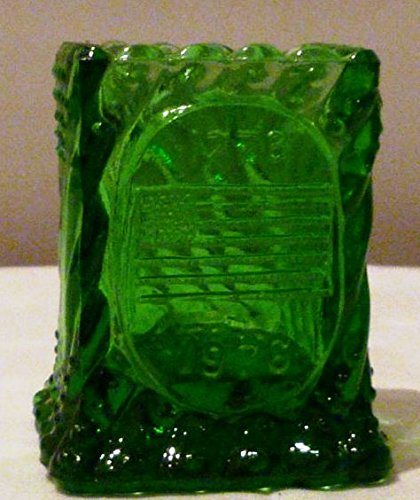 Vintage BiCentennial Green Embossed Glass USA Flag Toothpick Holder New Old Stock