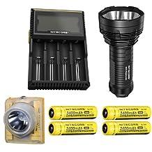Bundle: Nitecore TM16GT Flashlight CREE XP-L HI V3 LED w/4x NL189 & D4 Charger +Nitecore EH1 Headlamp