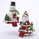 Kurt Adler Claydough Santa & Snowman Stocking Hangers with Felt Bottom (Set of 2)