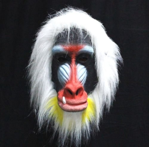 Madagascar Baboon Mask Latex Adult Size Monkey Jungle Ape Full Head Overhead Animal Mask Cosplay Dress Up (Baboon Latex Mask)