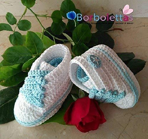 Patucos para Bebé, tipo Converse, 3-6 meses, Blanco-Azul. Hecho a Mano. Crochet. España: Amazon.es: Handmade