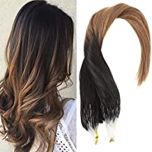 Sunny 14inch Micro Loop Hair Extensions Remy Human Hair #1B Natural Black Fade to Medium Brown Unprocessed Remy Hair Extensions 50g/pack 1g/strand