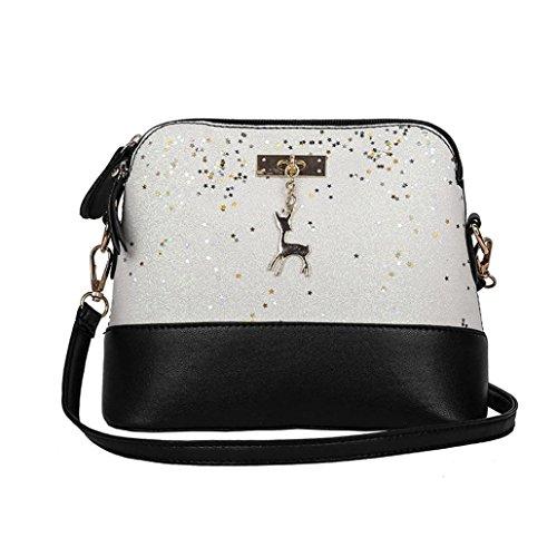 YJYDADA Womens Leather Crossbody Bag Sequins Small Deer Shoulder Bags Messenger Bag (White) from YJYDADA