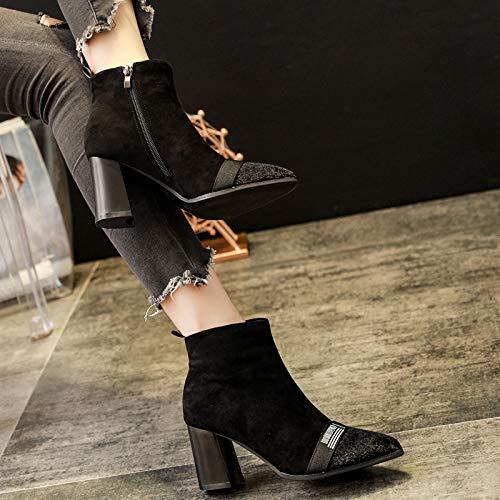 KPHY-Nero Stivali Tacco 8 Cm di Altezza Altezza Altezza Ha Sottolineato di Lusso Camoscio Nudo Stivali 35 nero | prendere in considerazione  30a760