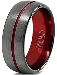 Tungsten Wedding Band Ring 8mm for Men Women Red Black...