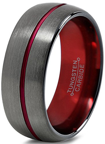 Tungsten Wedding Band Ring 8mm for Men Women Red Black Gunmetal Domed Brushed Polished Size 10.5 by Chroma Color Collection