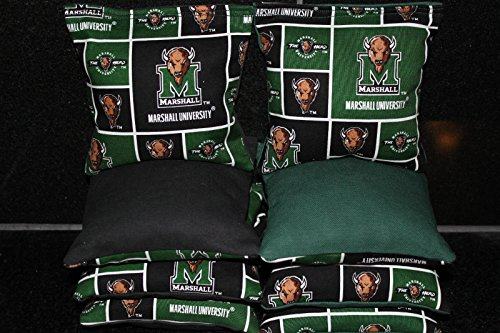 BackYardGamesUSA 8 CORNHOLE BEANBAGS made w MARSHALL THUNDERING HERD Fabric ACA Reg Bags