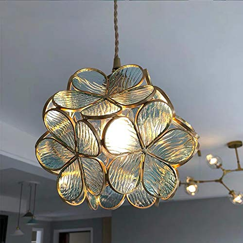 HXSON Petal Shape Chandelier for Bedroom Bedside,LED Japanese Style Glass Lampshade Creative Decoration Pendant Lamp for Girl Children's Room-Transparent