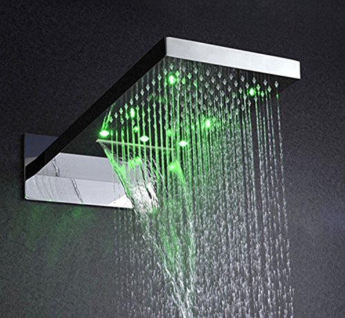 Gowe bathroom shower set,with body spray wall mounted rainfall waterfall LED shower system 1