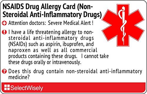 NSAIDS Drug Allergy (Non-Steroidal Anti-Inflammatory Drugs) Translation Card - Translated in Italian or any of 5 languages by SelectWisely