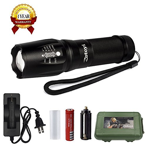 LED Tactical Flashlight Torch, Zotoyi Super Bright 1000 Lumens XML T6 LED EDC Flashlight Portable Zoomable Adjust Focus Waterproof 5 Lighting Modes Torch Light for Outdoor and Home Use