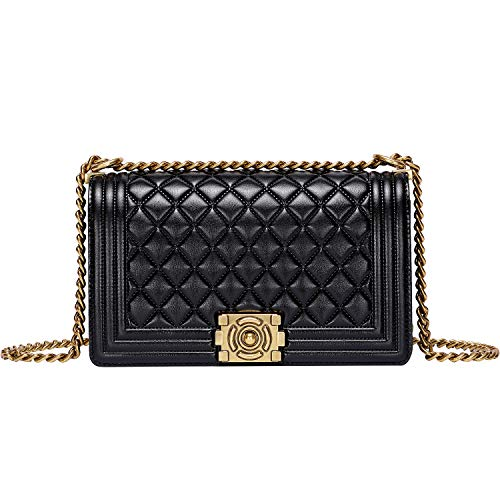 PIJUSHI Shoulder Handbags For Women Genuine Leather Quilted Chain Bag Cross Body Purses (99880 Black)