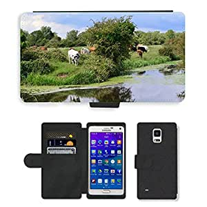 Hot Style Cell Phone Card Slot PU Leather Wallet Case // M00111459 Cows Grazing Grasses Cattle // Samsung Galaxy Note 4 IV