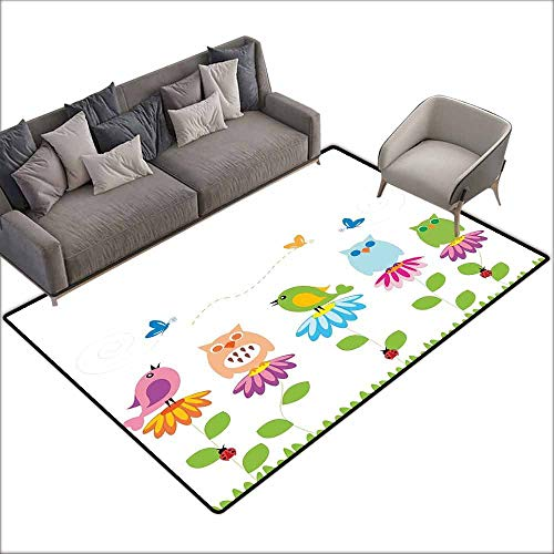 Bath Rug Slip Flowers Colorful Cartoon Style Birds on Chamomile Daisy Flowers Butterflies Ladybugs Kids Quick and Easy to Clean W6' x L6'10 Multicolor ()