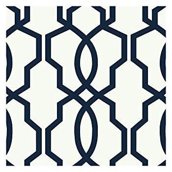 york wallcoverings ge3664 ashford geometrics hourglass trellis wallpaper navy bluewhite - Trellis Wall Paper