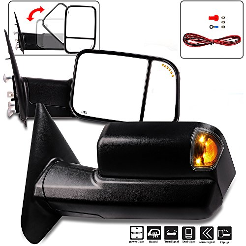 Towing Mirrors Eccpp High Performance A Pair Of Exterior Automotive Mirrors Replacement Fit For Dodge Ram 1500 2500 3500 2002 2008 With Power Operation Heated Arrow Signal Manual Flip Up Black Cover