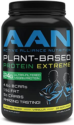 AAN Plant Based Protein 2.04 LBS Vegan Friendly Post or Pre Workout Shake – Naturally Sweetened 28 Servings Vanilla