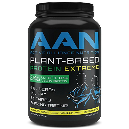 (AAN Plant Based Protein 2.04 LBS Vegan Friendly Post or Pre Workout Shake - Naturally Sweetened 28 Servings (Vanilla))