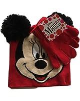 Disney Minnie Mouse Pom Pom Knit Cap and Glove Set