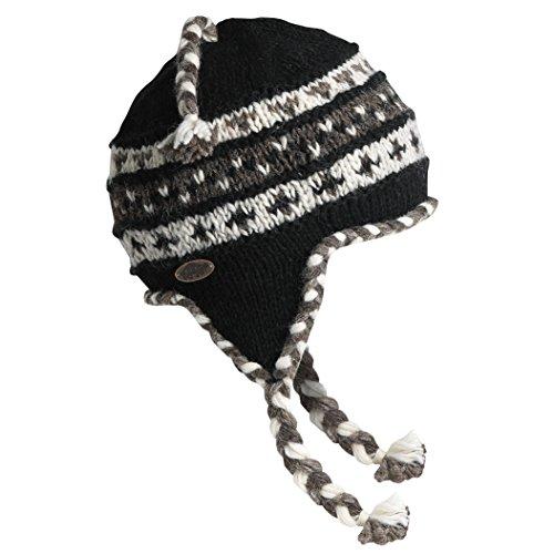 Turtle Fur Women's Nepal Tyler, Artisan Hand Knit Earflap Hat, Black (Tyler Beanie)