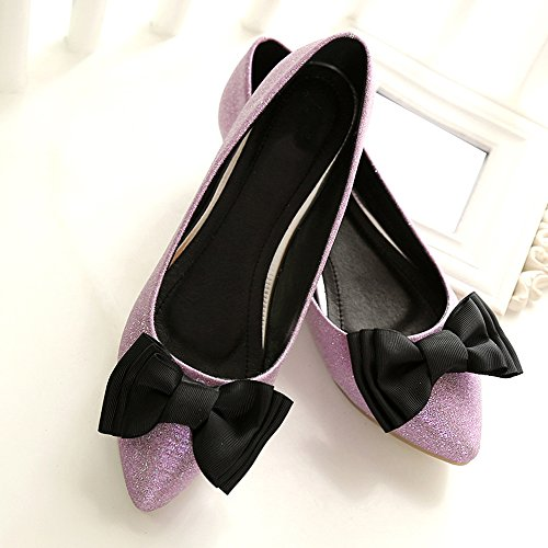 OCHENTA Femme Ballerines Plates Noeud Confortable Chaussures Marche Rose hQhtd8J
