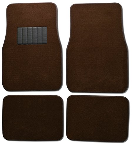 (Front & Rear Carpet Car Truck SUV Floor Mats - Brown)