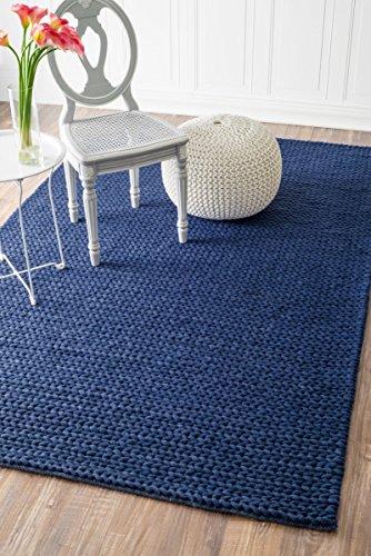 Blue Wool Braided Rug - nuLOOM CB01C Braided Chunky Cable Wool Rug, 4' x 6', Navy