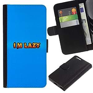NEECELL GIFT forCITY // Billetera de cuero Caso Cubierta de protección Carcasa / Leather Wallet Case for Apple Iphone 6 PLUS 5.5 // Soy perezoso