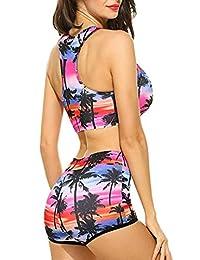 Traje de baño de dos piezas, Conjunto de bikini sexy para mujer, Conjunto de cóctel elegante, bikini estampado de árbol de coco y calcomanías