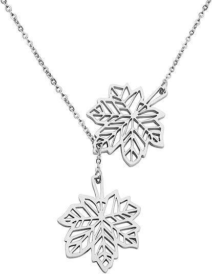 KUIYAI Double Canadian Maple Leaf Necklace