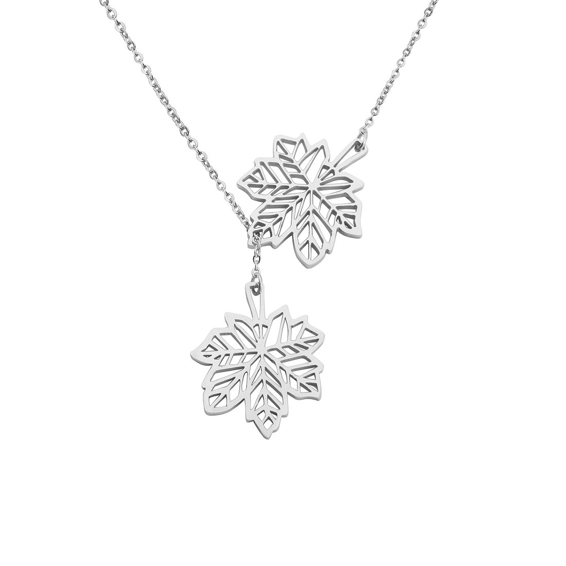 Double Canadian Maple Leaves Y Lariat Necklace for Women Girls KUIYAI