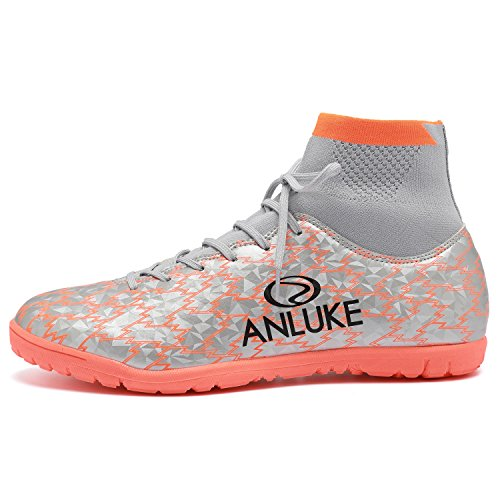 Anluke Hombres Hightop Training Soccer Zapatos Tf Fútbol Botas Naranja / Plateado