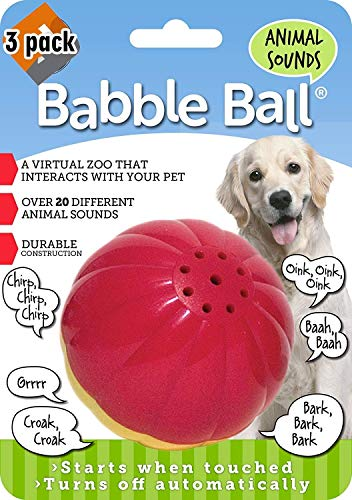 Pet Qwerks Animal Sounds Babble Ball Interactive Dog Toy, Makes Barnyard & Jungle Sounds When Touched - 3 Pack ()