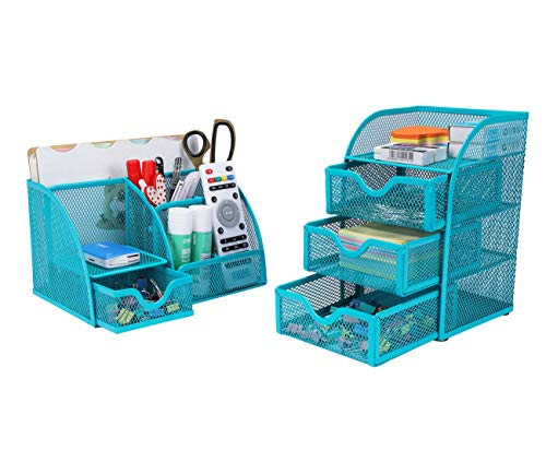 (PAG Office Supplies Mesh Desk Organizer Set Accessories Storage Caddy Pen Holder for Desk, Blue)